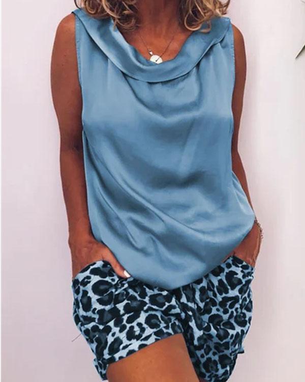 Fashion Round Neck Leopard Tank&Shorts Set with Pockets