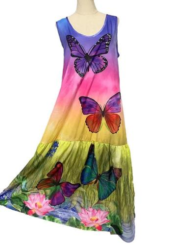 Colorful Tie Dye Butterfly Holiday Maxi Dress