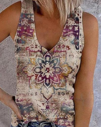 Vintage Map Print Sleeveless V Neck Button Vest Tops