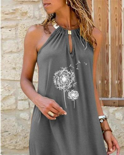 Dandelion Print Halter Neck Sexy Mini Dresses