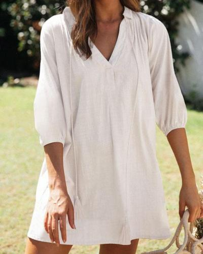 Women Casual V Neck Half Sleeve Solid Linen Dresses