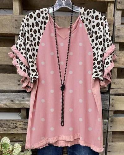 Polka Dots Leopard-print Short Sleeve Shirts & Tops