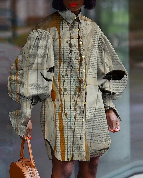 Vintage Lantern Sleeve Loose Shirt Dress