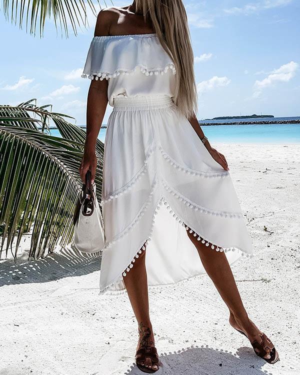 Women Solid Off Shoulder Irregular Tassel Dress