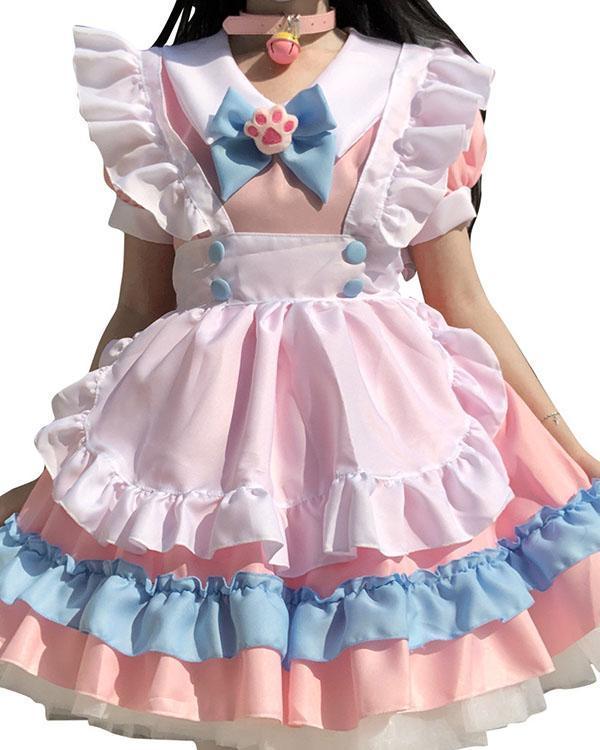 Pink Blue Sweet Lolita Dress Short Sleeve Cute Ruffle Sweet Girl Dress