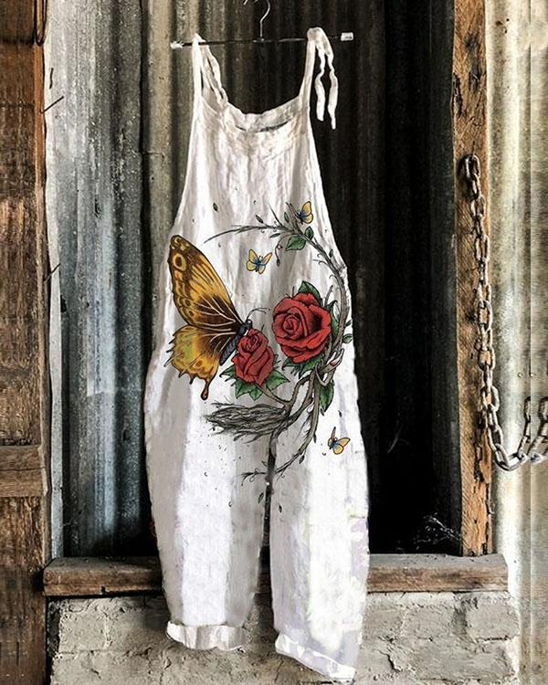 Fashion Rose Butterfly Loose Fit Linen Jumpsuits