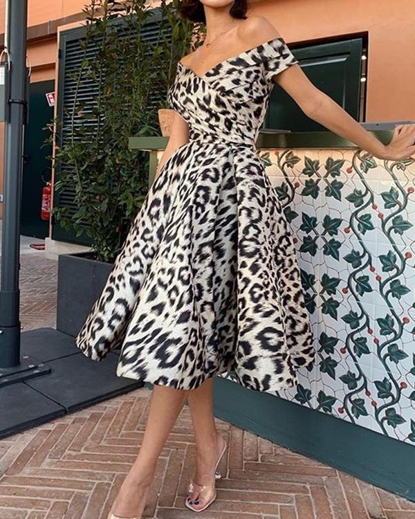 Leopard Print Off Shoulder Party Prom Midi Dress