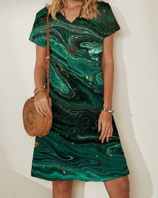 Womens Casual Flower Print Dress