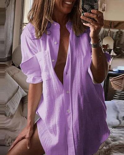 Women Casual Basic Pocket Pure Color Cotton Long Shirt
