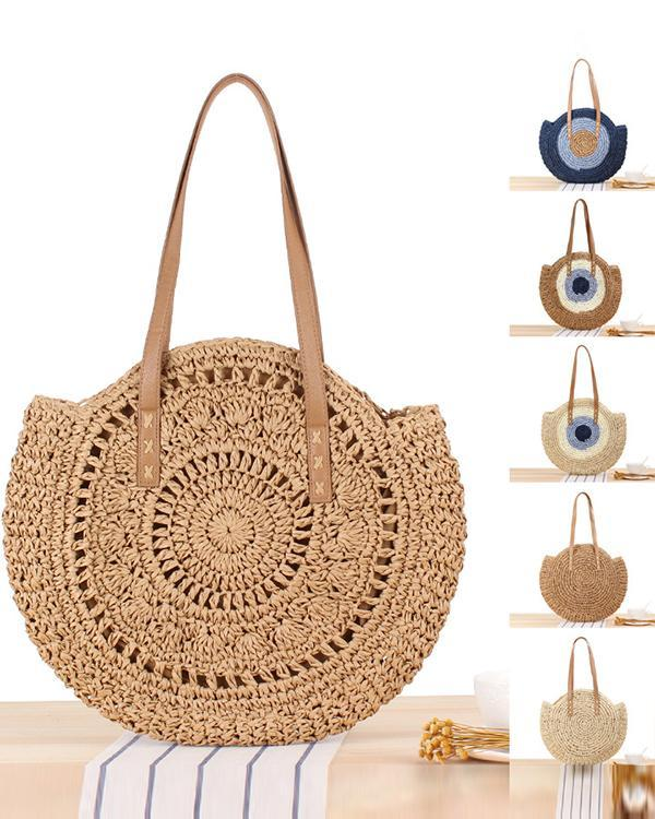 Simple Round One-shoulder Woven Bag