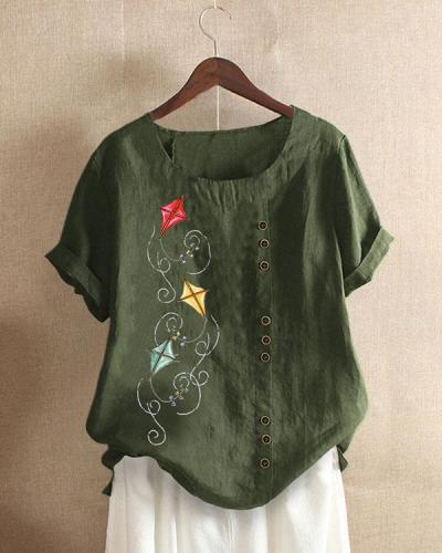 Vintage Kite Print Paneled Buttons Down Plaid Blouse
