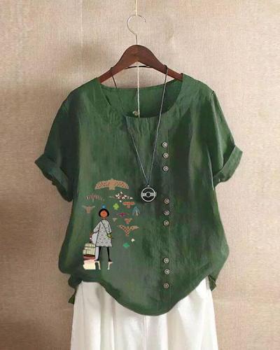 Vintage Girl Print Paneled Buttons Down Plaid Blouse