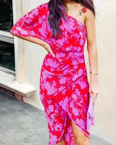 Fashion Sloping Shoulder Slim Split Hip Midi Skirt