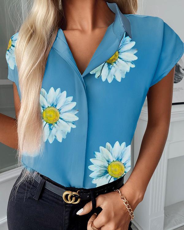 Daisy Print Short Sleeve Shirt