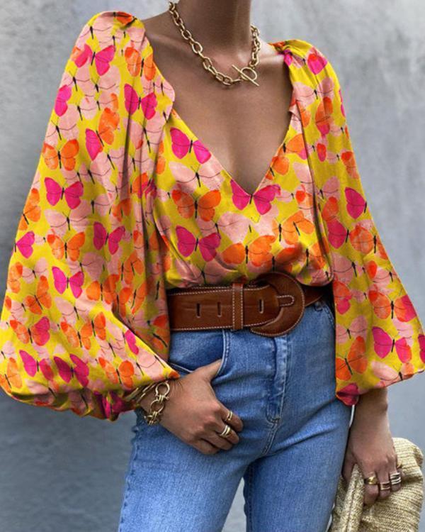 Elegant Loose Sleeves Butterfly Print Blouse