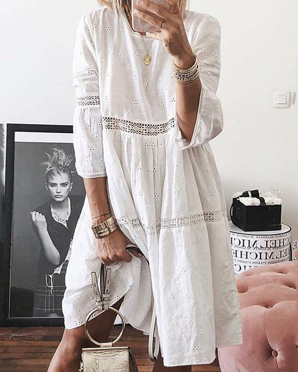 Boho Solid Crew Neck Hollow Out Splice Dress
