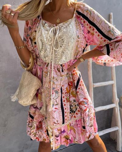 Bohemia Print Lace Mini Dress