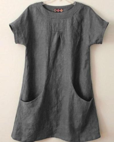 Round Neck Big Pockets Linen Short