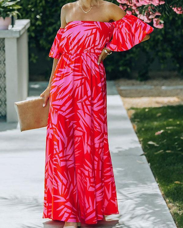 Off Shoulder Print High Waist Elegant Print Maxi Dress