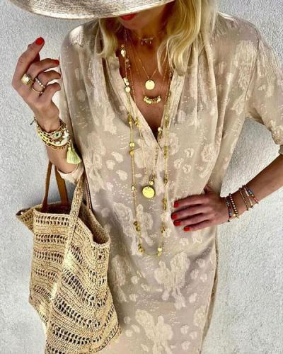 Casual Deep V Neck Loose Lace Midi Dress without Necklace