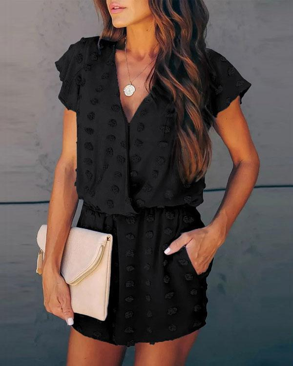 V-neck Fashion Embroidered Polka Dot Jumpsuit