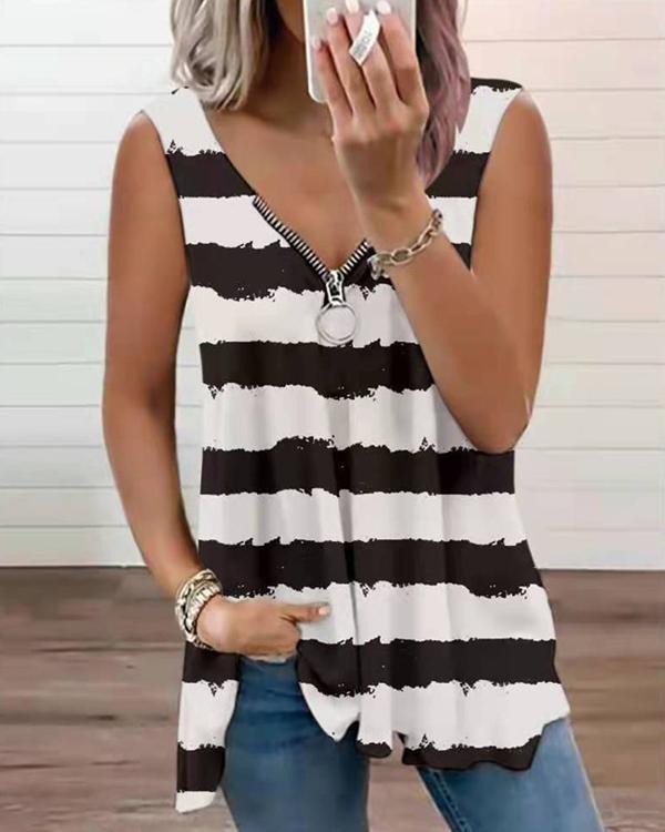 Women's Stripe Zipper Vest Tops