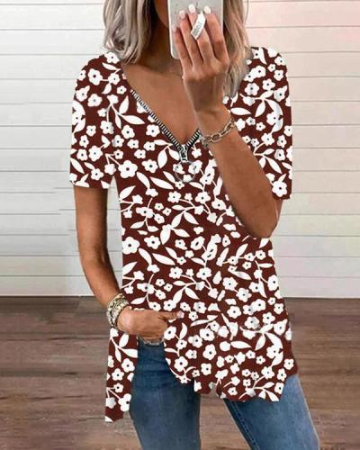Zipper Flower Print Short Sleeve Tops
