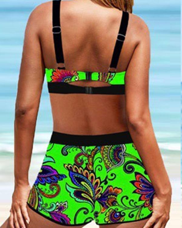 Plus Size Tropical Print Lace Up Halter V-Neck Bikini Set