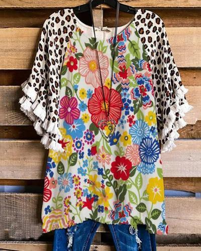 Flower Print Cotton-Blend Short Sleeve Casual Shirts & Tops