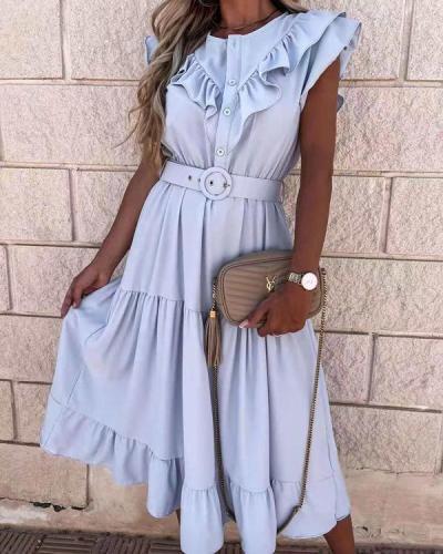 Button Layer Ruffles Maxi Dress