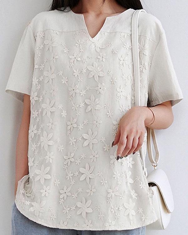 Embroidery Split Neck Short Sleeve Blouse