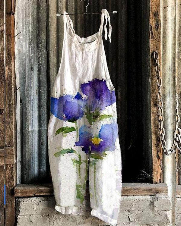 Women Purple Flower Print Comfy Linen Jumpsuits