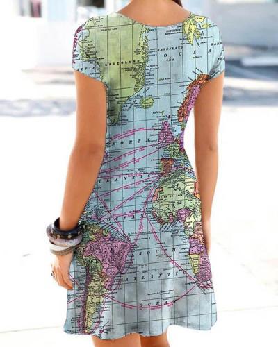Women Hollow Out Map Print Dress