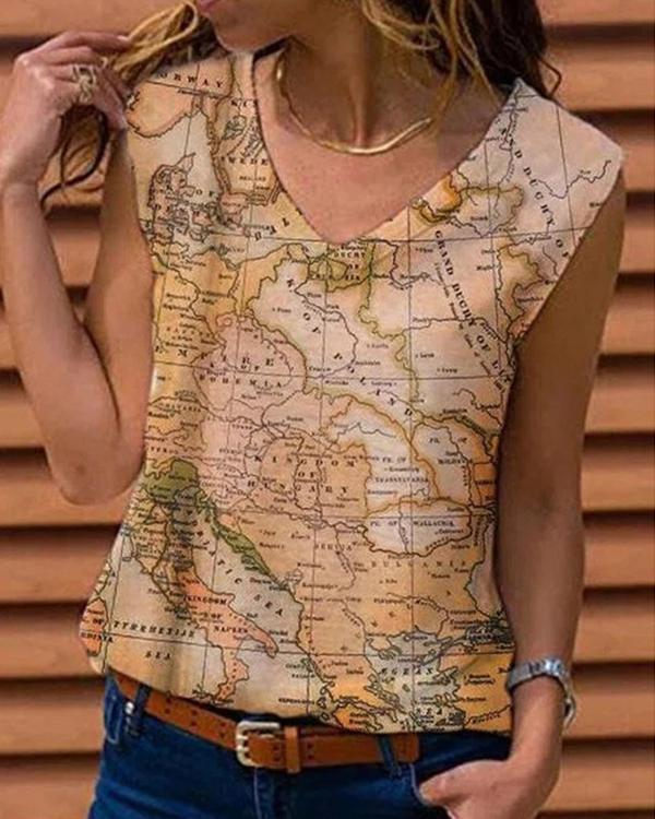 V-neck Sleeveless Floral Printed Graphic T-shirt