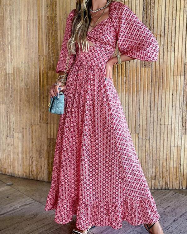 Women's Elegant  Maxi Long Sleeve Print Dress