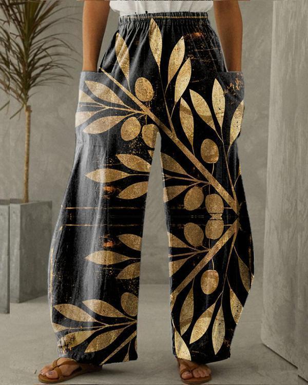 Women Cotton Pure Color Pocket Printing Pants