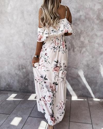 Women Cute Print Dress Cold Shoulder Dresses