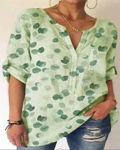 Women's Summer Printed Cotton Shirt&Blouse with Pocket