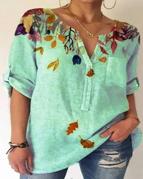 Women's Summer Leaves Printed Cotton Shirt&Blouse with Pocket