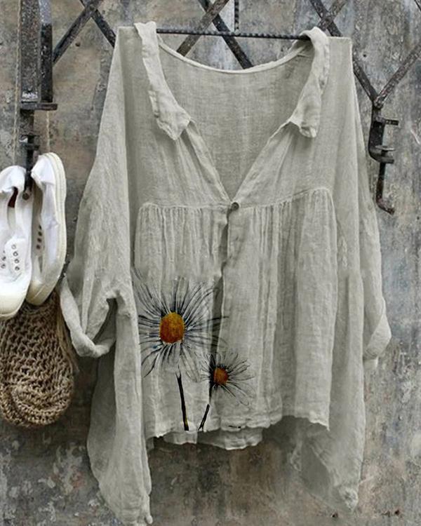 Women's Casual Loose Fit Floral Linen Cotton Shirt&Blouse