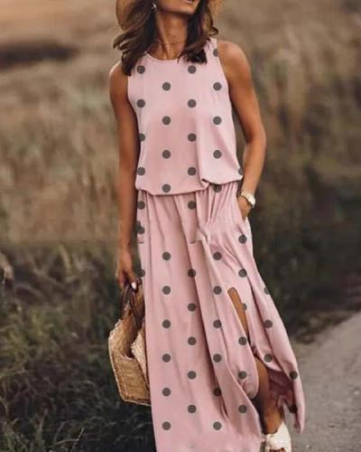 Print Sleeveless Round Neck Holiday Daily Fashion Maxi Dresses
