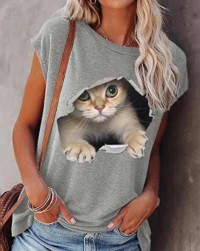 Gray Cat Printed Casual Short Sleeve Shift Shirts & Tops