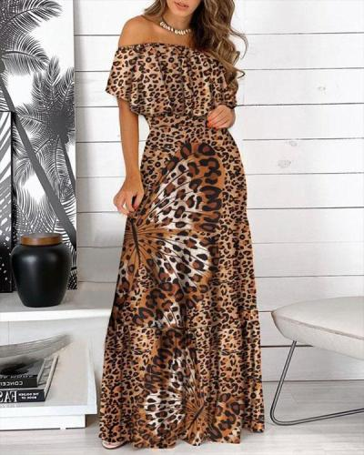 Women Off Shoulder Butterfly Sleeves Print Maxi Dresses