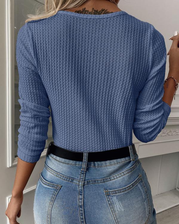 Solid Mesh V Neck Long Sleeve Top