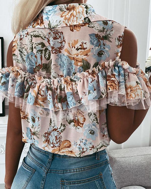 Printed Off Shoulder Short Sleeve Shirt Top