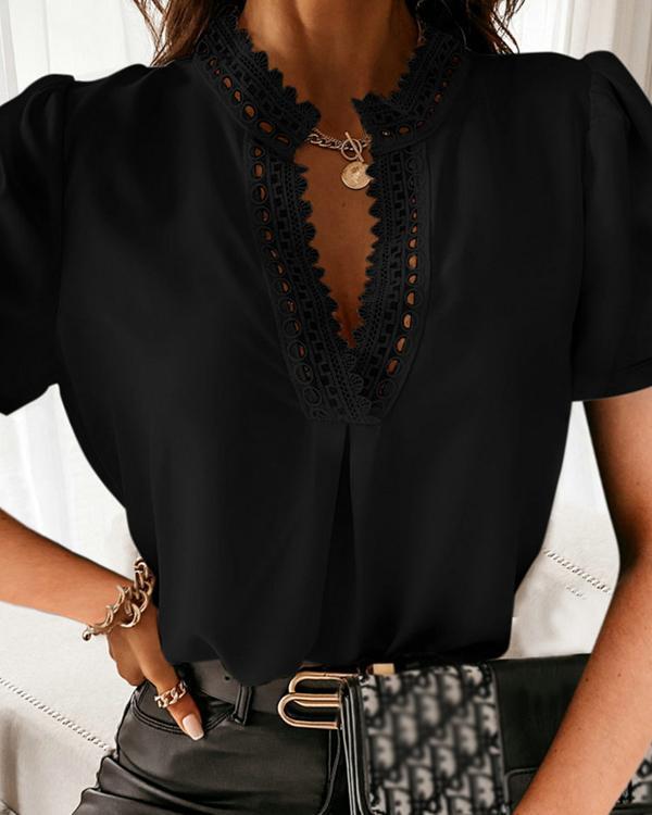 Women's V Neck Lace Blouses Tops