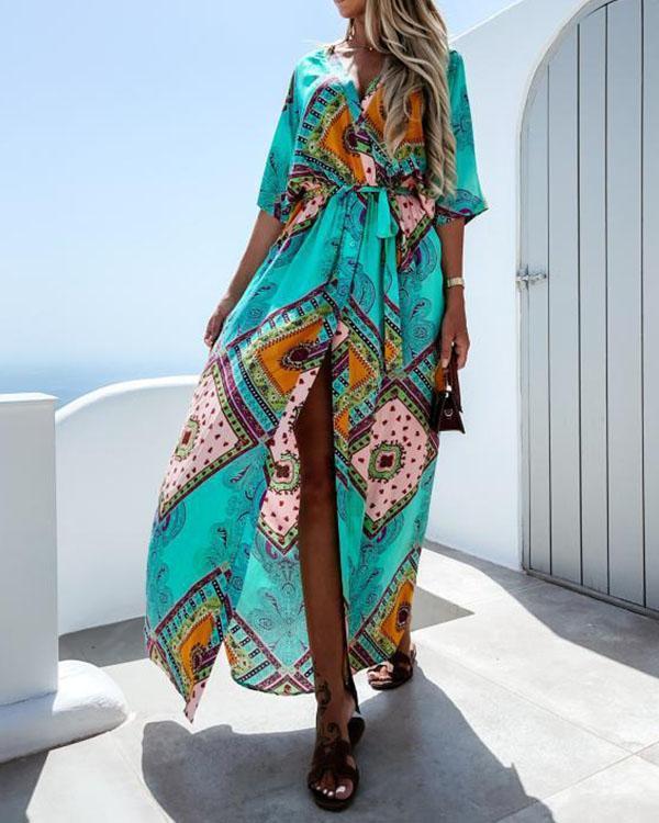 Women Raglan Sleeves Tie Waist Print Maxi Dresses