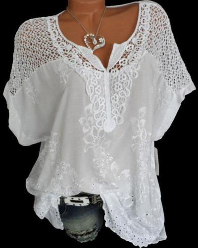 Women's Plus Size Short Sleeve Lace Crochet Blouse