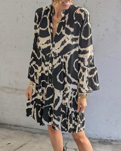 Fashion Printed Ruffle Sleeve Dress
