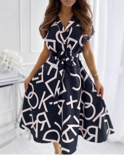 Fashion Letter Print Big Swing Dress